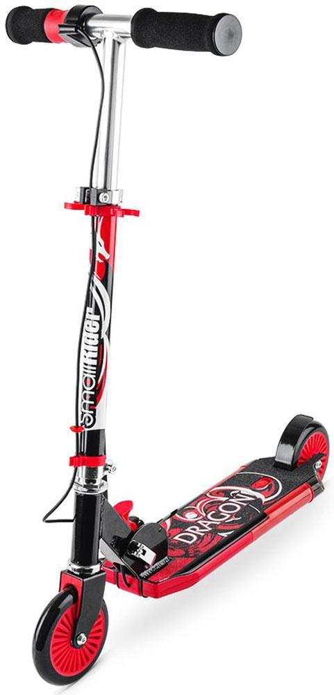 Самокат детский Small Rider Dragon, с дымом, звуком, светом, цвет: красный1154426Small Rider Dragon - это невероятный по современным возможностям развлекательный двухколесный самокат для детей от 3 до 10 лет. Невероятная привлекательность самоката в том, у него есть рукоятка-акселератор, при кручении которой самокат выпускает сзади платформы водяной дым, загораются фонари и звучит рев мотора. За все это отвечают обычные пальчиковые батарейки, которые потом легко и быстро заменяются (они не идут в комплекте). Прямо в центре платформы самоката отверстие, через которое пополняется резервуар для воды. Вы можете залить в него обычную воды из под крана. Далее, с помощью водяного охлаждения вода превращается в безопасный пар и как настоящий дым мотоцикла идет через выхлопную трубу. Водяной пар абсолютно безопасен, им нельзя обжечься или получить какую-либо травму. Он не содержит вредных веществ, потому что его основа - обычная чистая вода. Это настоящий огнедышащий дракон, на котором будет летать ваш ребенок! Самокат становится не просто тренажером или средством передвижения.Детское воображение превратит рутинное катание в парке или сквере в игру, а самокат создаст для окружающих настоящее шоу. Равнодушных точно не будет! Учитывая такие необычные свойства вы приятно удивите своих детей или детей друзей, подарив Small Rider Dragon. Они будут в восторге, а вы проявите себя человеком, дарящим интересные, чудесные подарки.