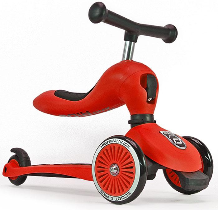 Самокат детский Scoot&Ride HighwayKick 1. Seat, 3-колесный, с сиденьем, цвет: красный1186512Австрийская компания Scoot&Ride, уже неоднократно побеждавшая в крупнейшей выставке ISPO (проходит в Германии) представляет новую разработку: HighwayKick 1. Seat - самокат-каталку-балансир. В данном инновационном продукте слились многие преимущества: стильный и современный европейский дизайн, функциональность, качественные материалы, безопасность. Highway Kick получил сертификат соответствия европейской безопасности EN71 и прошел множество международных тестов на качество. Ключевое отличие HighwayKick 1. Seat от других самокатов с сиденьем: сиденье не нужно куда-то убирать или носить в руках. Оно переворачивается вверх и становится частью рулевой колонки самоката, а рукоятки отщелкиваются и устанавливаются в верхнюю часть сиденья, что добавляет ему необычного, эффектного дизайна и сразу выделяет среди многих других. Такой вид рулевой колонки - уникален и очень зрелищно смотрится. Полноценный трехколесный самокат для детей от 1 года. Это первый трехколесный самокат для детей от одного года (в режиме каталки)! Без специального инструмента он превращается из каталки-балансира в самокат! HighwayKick 1. Seat имеет самое низкое расстояние между полом и сиденьем, подходящее для детей от 12 месяцев. Это всего лишь 22,5 см. Чтобы переключиться из самоката в режим каталки нужно отжать спереди черный рычажок и повернуть рулевую колонку. Первое знакомство с самокатом возможно уже с 12 месяцев в форме каталки. Самокат трансформируется с помощью простого механизма в каталку и малыш, расположившись на сиденье, отталкивается ножками, держась за руль. У HighwayKick 1. Seat есть три положения высоты сиденья (и ручки самоката). Форма сиденья невероятно удобная, оно имеет достаточный размер и мягкую накладку. Максимальная нагрузка на сиденье имеет большой запас и достигает 20 кг. Самокат тестировался под нагрузкой с помощью специальных машин большое количество циклов. Самокат и каталка имеют мод