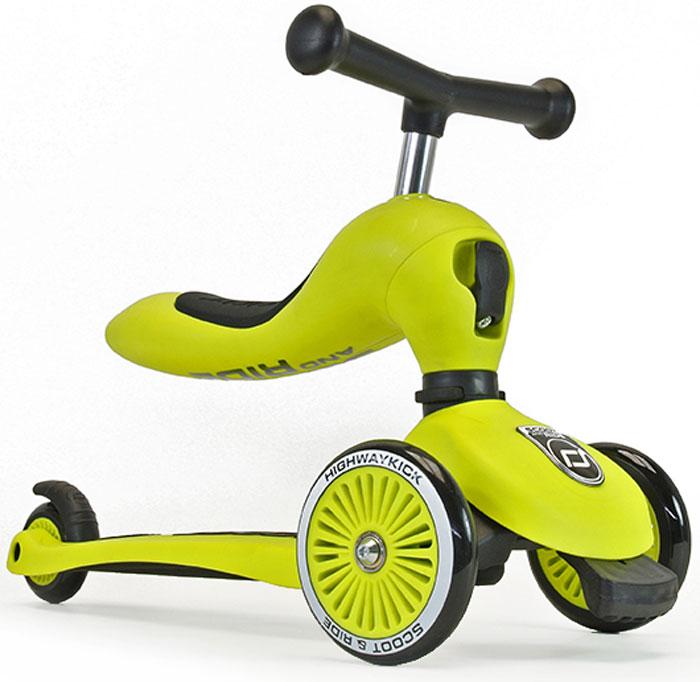 Самокат детский Scoot&Ride HighwayKick 1. Seat, 3-колесный, с сиденьем, цвет: зеленый1186514Австрийская компания Scoot&Ride, уже неоднократно побеждавшая в крупнейшей выставке ISPO (проходит в Германии) представляет новую разработку: HighwayKick 1. Seat - самокат-каталку-балансир. В данном инновационном продукте слились многие преимущества: стильный и современный европейский дизайн, функциональность, качественные материалы, безопасность. Highway Kick получил сертификат соответствия европейской безопасности EN71 и прошел множество международных тестов на качество. Ключевое отличие HighwayKick 1. Seat от других самокатов с сиденьем: сиденье не нужно куда-то убирать или носить в руках. Оно переворачивается вверх и становится частью рулевой колонки самоката, а рукоятки отщелкиваются и устанавливаются в верхнюю часть сиденья, что добавляет ему необычного, эффектного дизайна и сразу выделяет среди многих других. Такой вид рулевой колонки - уникален и очень зрелищно смотрится. Полноценный трехколесный самокат для детей от 1 года. Это первый трехколесный самокат для детей от одного года (в режиме каталки)! Без специального инструмента он превращается из каталки-балансира в самокат! HighwayKick 1. Seat имеет самое низкое расстояние между полом и сиденьем, подходящее для детей от 12 месяцев. Это всего лишь 22,5 см. Чтобы переключиться из самоката в режим каталки нужно отжать спереди черный рычажок и повернуть рулевую колонку. Первое знакомство с самокатом возможно уже с 12 месяцев в форме каталки. Самокат трансформируется с помощью простого механизма в каталку и малыш, расположившись на сиденье, отталкивается ножками, держась за руль. У HighwayKick 1. Seat есть три положения высоты сиденья (и ручки самоката). Форма сиденья невероятно удобная, оно имеет достаточный размер и мягкую накладку. Максимальная нагрузка на сиденье имеет большой запас и достигает 20 кг. Самокат тестировался под нагрузкой с помощью специальных машин большое количество циклов. Самокат и каталка имеют мод