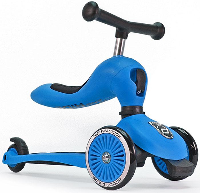 Самокат детский Scoot&Ride HighwayKick 1. Seat, 3-колесный, с сиденьем, цвет: синий1186517Австрийская компания Scoot&Ride (Скут энд Райд), уже неоднократно побеждавшая в крупнейшей выставке ISPO (проходит в Германии) представляет новую разработку:Highway Kick 1 (Хайвэй Кик 1) = самокат-каталку-балансир.В данном инновационном продукте слились многие преимущества: стильный и современный европейский дизайн, функциональность, качественные материалы, безопасность.Highway Kick получил сертификат соответствия европейской безопасности EN71 и прошел множество международных тестов на качество.Ключевое отличие Хайвэй фрик от других самокатов с сиденьем:Сиденье не нужно куда-то убирать или носить в руках!Оно переворачивается вверх и становится частью рулевой колонки самоката, а рукоятки отщелкиваются и устанавливаются в верхнюю часть сиденья, что добавляет ему необычного, эффектного дизайна и сразу выделяет среди многих других.Такой вид рулевой колонки - уникален и очень зрелищно смотрится.Полноценный трехколесный самокат для детей от 1 года.Это первый трехколесный самокат для детей от одного года (в режиме каталки)!Без специального инструмента он превращается из каталки-балансира в самокат!Хайвэй Кик имеет самое низкое расстояние между полом и сиденьем, подходящее для детей от 12 месяцев. Это всего лишь 22,5 см. Чтобы переключиться из самоката в режим каталки нужно отжать спереди черный рычажок и повернуть рулевую колонкуПервое знакомство с самокатом возможно уже с 12 месяцев в форме каталки. Самокат трансформируется с помощью простого механизма в каталку и малыш, расположившись на сиденье отталкивается ножками, держась за руль.У Хайвэй фрик есть три положения высоты сиденья (и ручки самоката).Форма сиденья невероятно удобная, оно имеет достаточный размер и мягкую накладку.Максимальная нагрузка на сиденье имеет большой запас и достигает 20 кг. Самокат тестировался под нагрузкой с помощью специальных машин большое количество циклов. Самокат и каталка имеют модную систему поворо