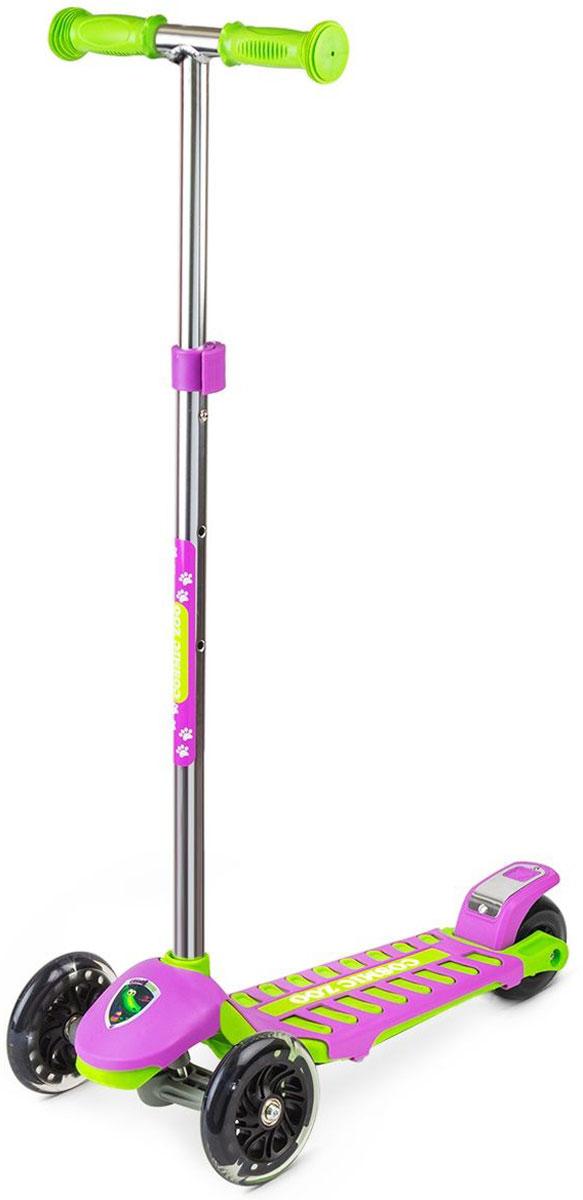 Самокат Small Rider Zoo Galaxy Maxi, 3-колесный, цвет: сиреневый1351128Трехколесный самокат Small Rider Zoo Galaxy Maxi - это детский трехколесный самокат, который проверен временем и протестирован многими российскими детишками, заслужив массу поклонников.На этом великолепном самокате могут кататься дети с 2 до 6 лет, поскольку он имеет уникальное сочетание преимуществ: большую платформу, толстое заднее колесо и выдвижную ручку с широким диапазоном регулировки. Самокат Small Rider Zoo Galaxy Maxi идет в тренде, и имеет надежные и эффектные PU (полиуретановые) колеса с цветными светодиодиками, которые начинают эффектно смотреться темное время дня Колеса имеют прозрачную оболочку и черные диски, что делает их не просто заметными вечером, но и красивыми для глаз днем.Самокат имеет современный поворотный механизм и качественные подшипники, которые позволяют делать различные маневры и пируэты, когда ребенок переносит массу своего тела в одну из сторон. Таким образом, ребенок учится держать равновесие, а также родители могут быть уверены, что руль не повернется на 90 градусов и не травмирует малыша. Что отличает этот самокат от многих других, так это невероятные, сочные комбинированные расцветки с персонажами Космического зоопарка.Верхний слой деки - это дополнительная пластиковая крышка, которая помимо красоты, защищает платформу от деформации (перегруза) и увеличивает возможный возраст наездника.