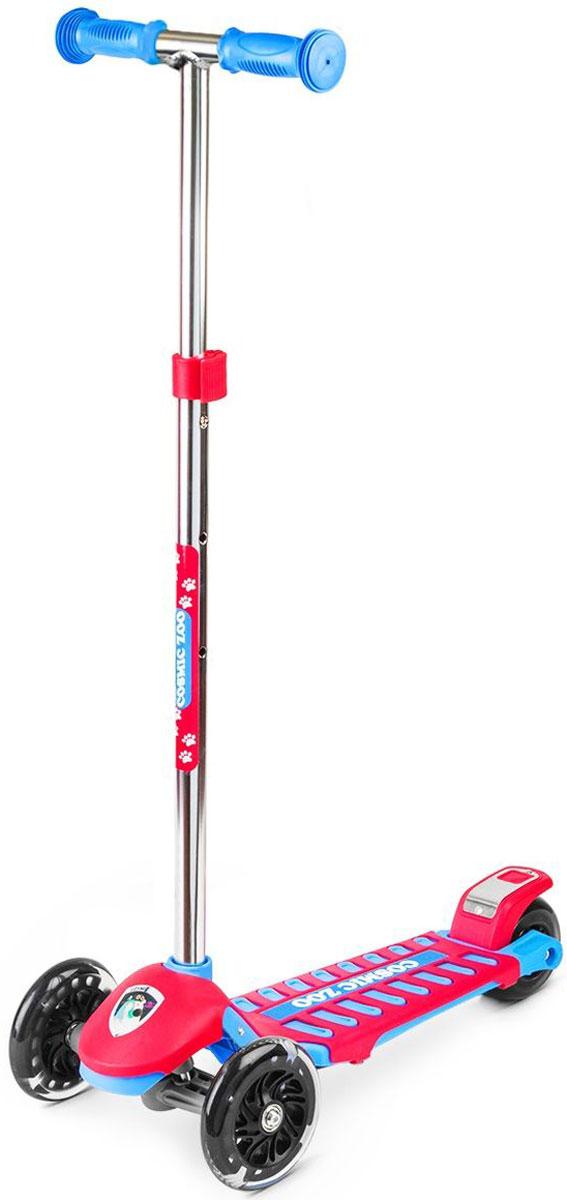 Самокат Small Rider Zoo Galaxy Maxi, 3-колесный, цвет: красный1351129Трехколесный самокат Small Rider Zoo Galaxy Maxi - это детский трехколесный самокат, который проверен временем и протестирован многими российскими детишками, заслужив массу поклонников.На этом великолепном самокате могут кататься дети с 2 до 6 лет, поскольку он имеет уникальное сочетание преимуществ: большую платформу, толстое заднее колесо и выдвижную ручку с широким диапазоном регулировки. Самокат Small Rider Zoo Galaxy Maxi идет в тренде, и имеет надежные и эффектные PU (полиуретановые) колеса с цветными светодиодиками, которые начинают эффектно смотреться темное время дня Колеса имеют прозрачную оболочку и черные диски, что делает их не просто заметными вечером, но и красивыми для глаз днем.Самокат имеет современный поворотный механизм и качественные подшипники, которые позволяют делать различные маневры и пируэты, когда ребенок переносит массу своего тела в одну из сторон. Таким образом, ребенок учится держать равновесие, а также родители могут быть уверены, что руль не повернется на 90 градусов и не травмирует малыша. Что отличает этот самокат от многих других, так это невероятные, сочные комбинированные расцветки с персонажами Космического зоопарка.Верхний слой деки - это дополнительная пластиковая крышка, которая помимо красоты, защищает платформу от деформации (перегруза) и увеличивает возможный возраст наездника.