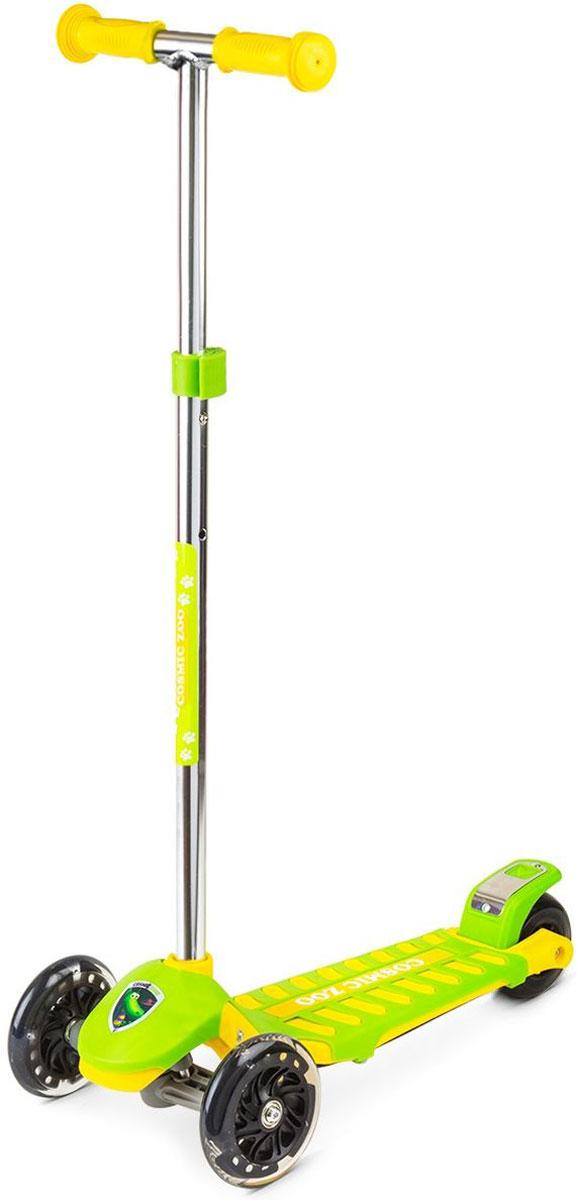 Самокат Small Rider Zoo Galaxy Maxi, 3-колесный, цвет: зеленый1351130Трехколесный самокат Small Rider Zoo Galaxy Maxi - это детский трехколесный самокат, который проверен временем и протестирован многими российскими детишками, заслужив массу поклонников.На этом великолепном самокате могут кататься дети с 2 до 6 лет, поскольку он имеет уникальное сочетание преимуществ: большую платформу, толстое заднее колесо и выдвижную ручку с широким диапазоном регулировки. Самокат Small Rider Zoo Galaxy Maxi идет в тренде, и имеет надежные и эффектные PU (полиуретановые) колеса с цветными светодиодиками, которые начинают эффектно смотреться темное время дня Колеса имеют прозрачную оболочку и черные диски, что делает их не просто заметными вечером, но и красивыми для глаз днем.Самокат имеет современный поворотный механизм и качественные подшипники, которые позволяют делать различные маневры и пируэты, когда ребенок переносит массу своего тела в одну из сторон. Таким образом, ребенок учится держать равновесие, а также родители могут быть уверены, что руль не повернется на 90 градусов и не травмирует малыша. Что отличает этот самокат от многих других, так это невероятные, сочные комбинированные расцветки с персонажами Космического зоопарка.Верхний слой деки - это дополнительная пластиковая крышка, которая помимо красоты, защищает платформу от деформации (перегруза) и увеличивает возможный возраст наездника.