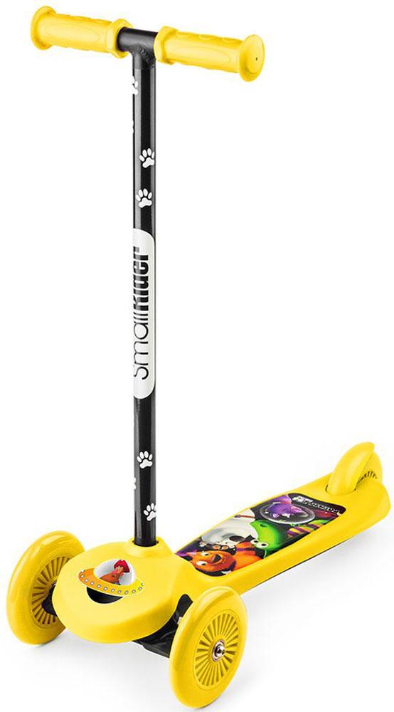 Самокат Small Rider  Cosmic Zoo Scooter Flash. 2 в 1 , со светящимися колесами, цвет: желтый - Самокаты