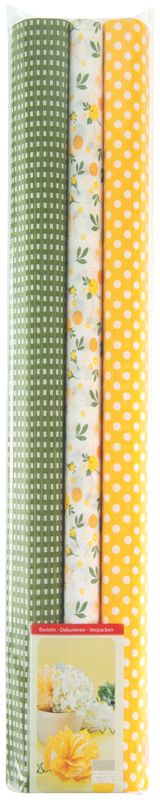 Werola Бумага крепированная цвет желтый зеленый белый 3 шт 50 см х 200 см greenwich line бумага крепированная цвет красный 50 х 250 см