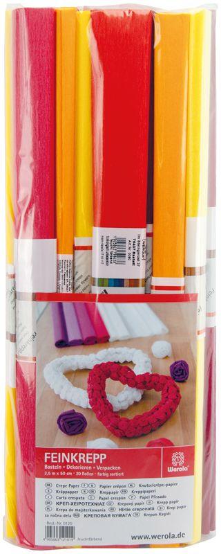 Werola Бумага крепированная 10 цветов 20 шт 50 см х 250 см230916Набор крепированной бумаги предназначен для детского творчества, декора, упаковки, изготовления детских костюмов. Бумага обладает повышенной прочностью и жесткостью, хорошо растягивается, имеет жатую поверхность. Кроме того, крепированная бумага яркая и необычная, широко применяется для создания всевозможных ручных поделок.