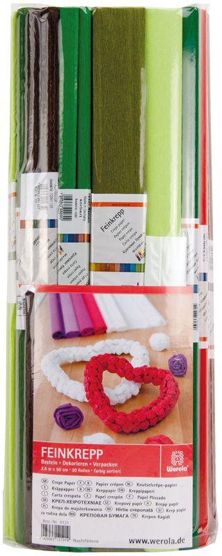 Werola Бумага крепированная 10 цветов 20 шт 50 см х 250 см230917Набор крепированной бумаги предназначен для детского творчества, декора, упаковки, изготовления детских костюмов. Бумага обладает повышенной прочностью и жесткостью, хорошо растягивается, имеет жатую поверхность. Кроме того, крепированная бумага яркая и необычная, широко применяется для создания всевозможных ручных поделок.
