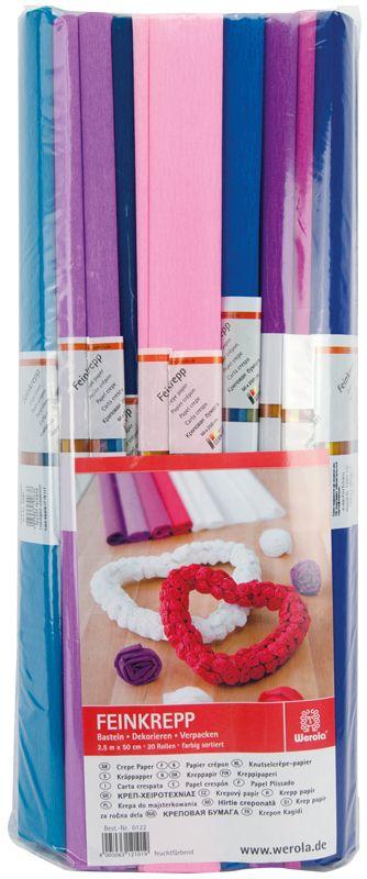 Werola Бумага крепированная 10 цветов 20 шт 50 см х 250 см230918Набор крепированной бумаги предназначен для детского творчества, декора, упаковки, изготовления детских костюмов. Бумага обладает повышенной прочностью и жесткостью, хорошо растягивается, имеет жатую поверхность. Кроме того, крепированная бумага яркая и необычная, широко применяется для создания всевозможных ручных поделок.