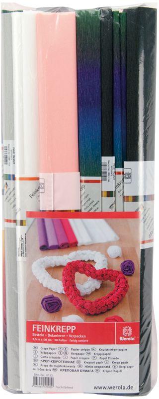 Werola Бумага крепированная 5 цветов 20 шт 50 см х 250 см230919Набор крепированной бумаги предназначен для детского творчества, декора, упаковки, изготовления детских костюмов. Бумага обладает повышенной прочностью и жесткостью, хорошо растягивается, имеет жатую поверхность. Кроме того, крепированная бумага яркая и необычная, широко применяется для создания всевозможных ручных поделок.
