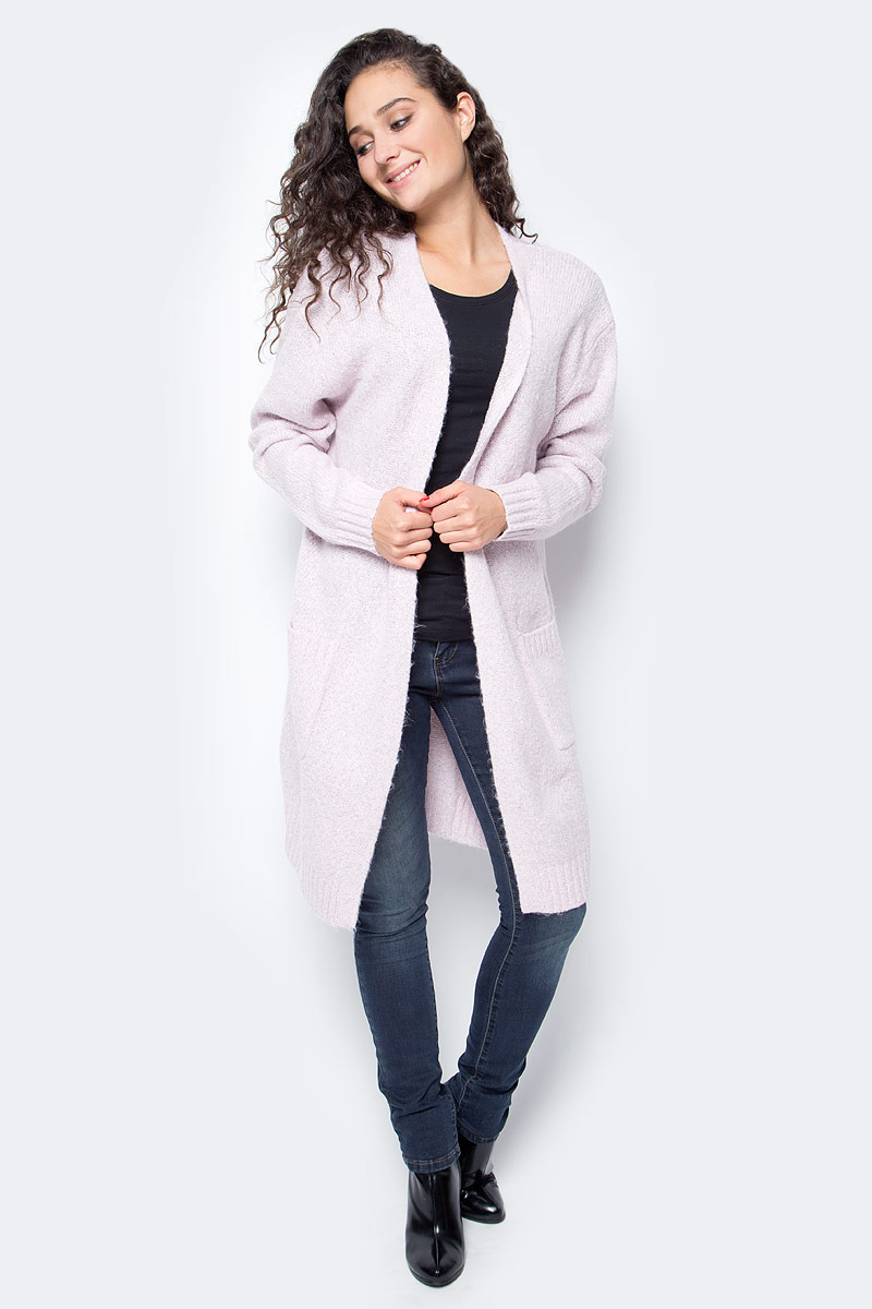 Кардиган женский Baon, цвет: розовый. B147511_Cold Peony Melange. Размер XL (50) кардиган женский baon цвет черный b147505 black размер xl 50