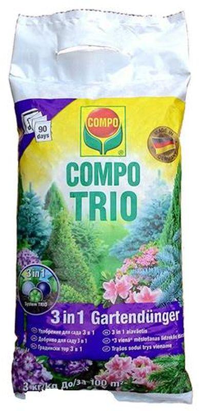 Удобрение для сада Compo Trio, 3 в 1, 3 кг2291206066Инновационная формула удобрений Compo 3 в 1, обеспечивает контролируемое и постоянное высвобождение питательных веществ в 2 этапа. Обеспечивает рост и развитие сильных, здоровых растений, с зеленой, плотной листвой. Обеспечивает элементами питания растения до трех месяцев.