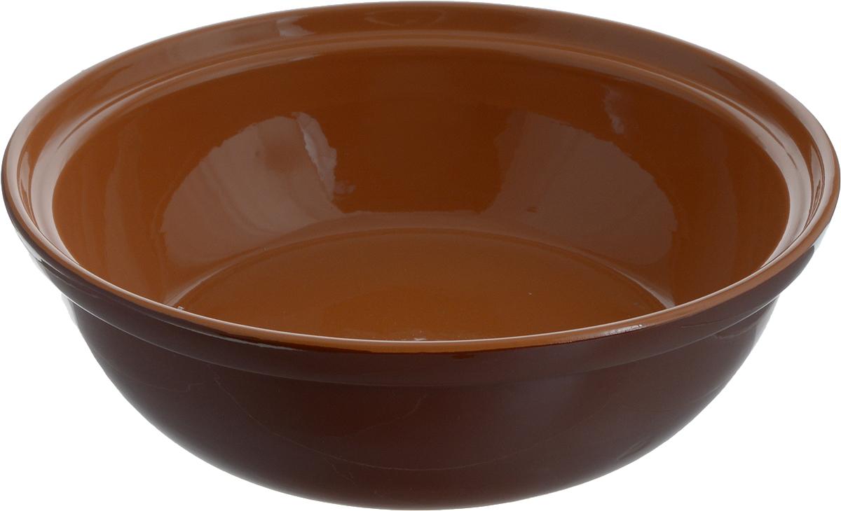 Салатник Борисовская керамика Модерн, цвет: темно-коричневый, 2,5 лРАД00001012_темно-коричневыйСалатник Борисовская керамика Модерн выполнен из высококачественной глазурованной керамики. Этот большой и вместительный салатник придется по вкусу любителям здоровой и полезной пищи. Благодаря современной удобной форме, изделие многофункционально и может использоваться хозяйками на кухне как в виде салатника, так и для запекания продуктов, с последующим хранением в нем приготовленной пищи. Посуда термостойкая. Можно использовать в духовке и микроволновой печи.Диаметр (по верхнему краю): 28,5 см.Диаметр (по внутреннему краю): 24,5 см.Диаметр дна: 19,5 см.Высота стенки: 8,5 см.