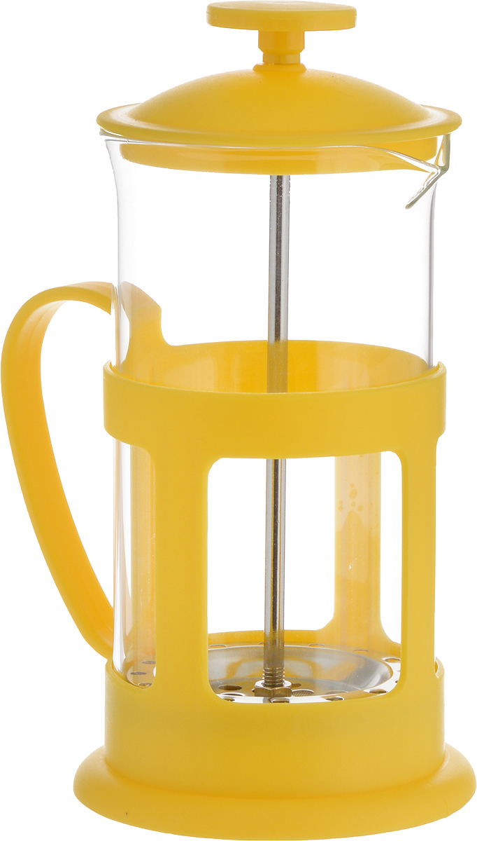 Френч-пресс Teco, цвет: желтый, прозрачный, 350 млTC-P1035-Y(желтый)Френч-пресс Teco поможет приготовить вкусный и ароматный чай или кофе. Колба изготовлена из термостойкого стекла. Основание, ручка и крышка выполнены из пластика. Утолщенный ободок колбы повышает прочность и продлевает срок службы изделия. Форма края носика препятствует образованию подтеков. Плотно прилегающая крышка позволяет надолго сохранить аромат напитка. Фильтр-поршень из нержавеющей стали обеспечивает равномерную циркуляцию воды и насыщенность напитка. С его помощью также можно регулировать степень крепости напитка. Засыпая чайную заварку или кофе под фильтр, заливая горячей водой, вы получаете ароматный напиток с оптимальной крепостью и насыщенностью. Остановить процесс заваривания легко, для этого нужно просто опустить поршень, и все уйдет вниз, оставляя вверху напиток, готовый к употреблению.Высота френч-пресса: 17 см. Диаметр колбы (по верхнему краю): 7,5 см. Диаметр основания: 8,5 см.