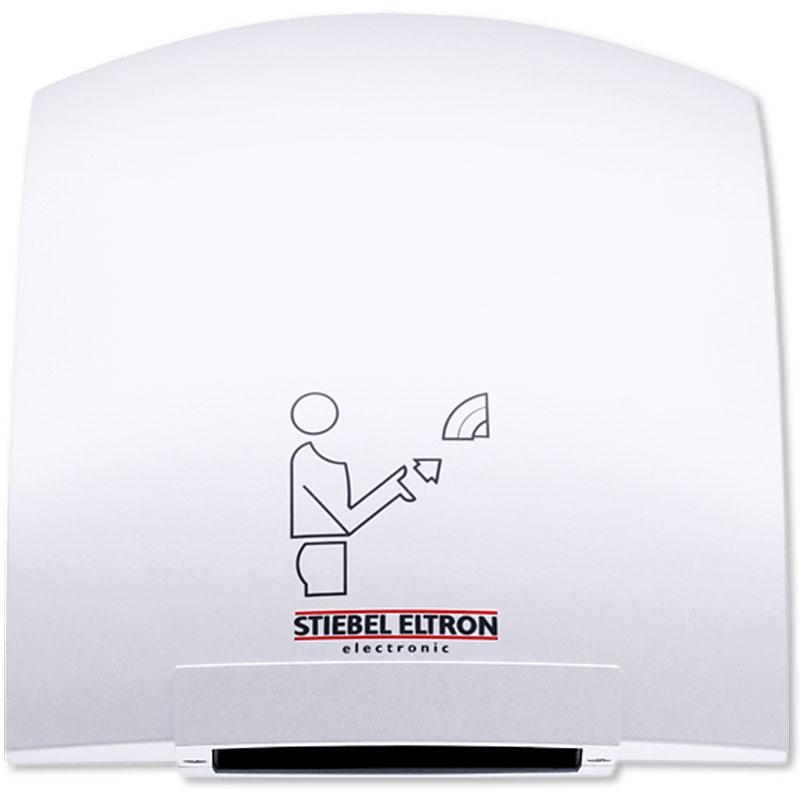 Stiebel Eltron HTT 4 WS сушилка для рук30061Stiebel Eltron НТT 4 WS представляет собой сушилку настенного крепления с сенсорным инфракрасным датчиком включения, реагирующим на приближение рук, на определенное расстояние (6-12 сантиметров от выпускной решетки). Среднее время высушивания составляет 20 секунд. По истечении трех секунд с момента удаления рук из зоны сушки, прибор выключается. Специально спроектированная форма исключает размещение различных предметов на верхней части корпуса. Прибор разработан для установки и функционирования в многолюдных местах, производственных и бытовых помещениях, аэропортах, вокзалах, точках общественного питания. Конструкция аппарата имеет пластиковый держатель для установки патронов с ароматизаторами воздуха. Работа аппарата практически бесшумна, и достаточно экономична.Во время работы, температура воздуха сушилки Stiebel Eltron НТT 4 WS на выходе достигает 90 градусов Цельсия. Для исключения перегрева, опасность которого может возникнуть в случае перекрытия выходных отверстий решетки, прибор оборудован температурным датчиком, автоматически отключающим нагревательный элемент. Встроенный вентилятор в свою очередь продолжает работу, охлаждая внутренние элементы прибора. Повторное включение режима нагрева происходит также в автоматическом режиме, спустя одну-две минуты.Надежные инфракрасные сенсоры прибора, рассчитанные на 10 000 000 включений, оборудованы внутренней защитой, отключающей прибор при длительном перекрытии сенсора (как правило, более 3 секунд), предотвращая нежелательную эксплуатацию в непрерывном режиме и оберегая тем самым двигатель от перегрева. Корпус прибора имеет усиленную двойную изоляцию, что разрешает использование в электрической сети без дополнительного заземления.Сертификация по классу защиты - IP 23. Первая цифра 2 соответствует защите оболочки от случайного касания пальцами опасных частей оборудования. Кодовое число - 3, обозначающее водозащиту допускает попадание водяных капель, попадающих на корпус под 