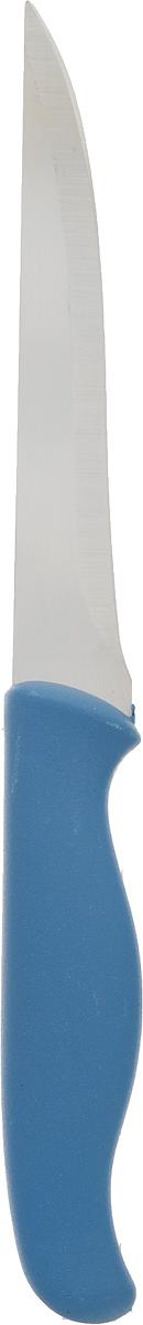 Нож Доляна Мультиколор, цвет: синий, длина лезвия 12 см1102510_синийНож Доляна Мультиколор идеален для ежедневной нарезки любых продуктов. Лезвие изготовлено из металла, который не подвергается коррозии, а ручка удобной формы выполнена из пластика. Нож не впитывает запахи, оставляя натуральный вкус продуктов, отличается прочностью и долговечностью. Лезвие и ручка отлично сбалансированы, что позволяет резать быстрее и комфортнее. Общая длина ножа: 23 см.