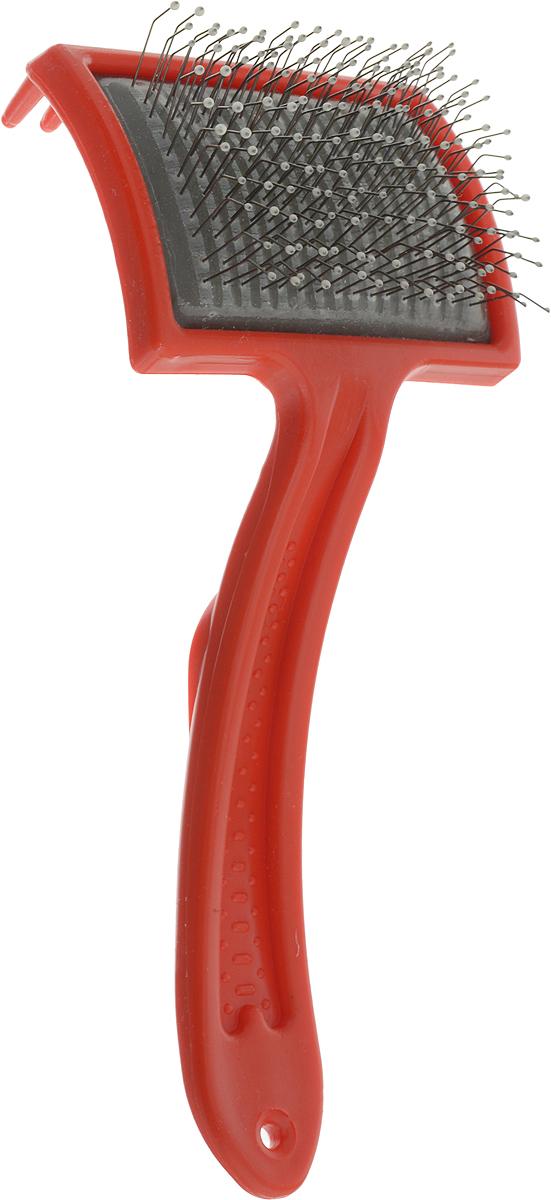 Пуходерка Зооник, большая, с каплей, средней жесткости, цвет: красный
