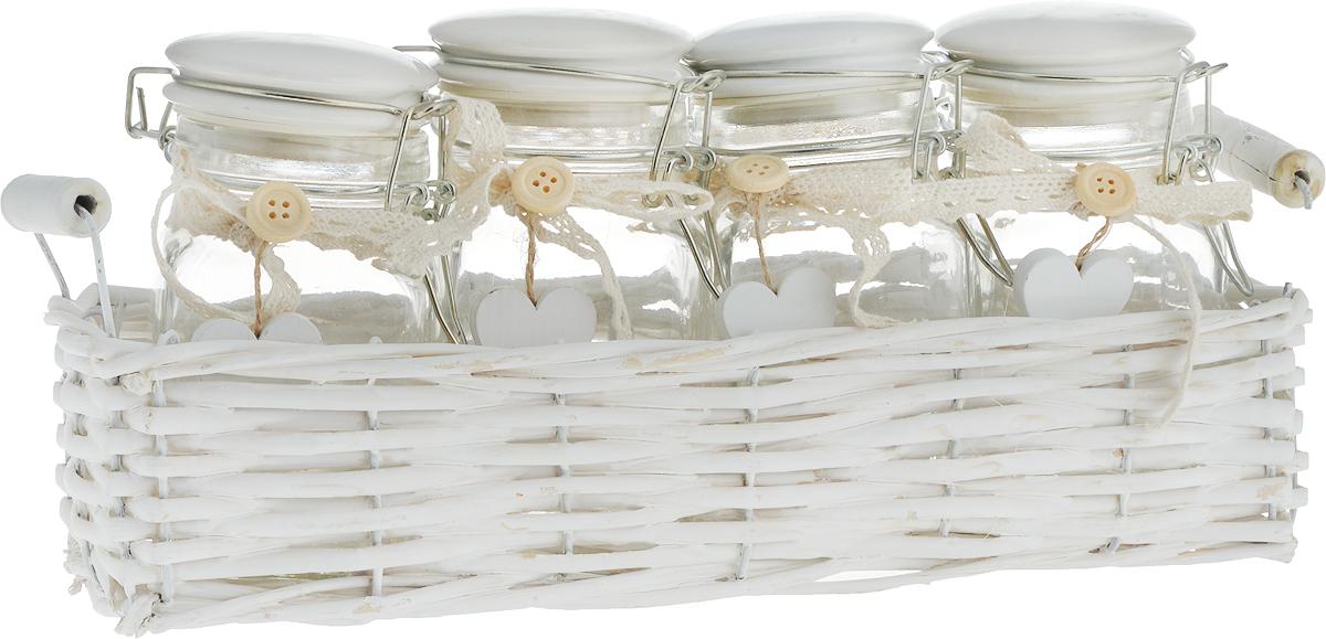 Набор емкостей Miralight Прованс, в корзине, цвет: белый, 300 мл, 4 шт набор банок для сыпучих и жидких продуктов miralight прованс в корзине 800 мл 3 шт tp 01s 3