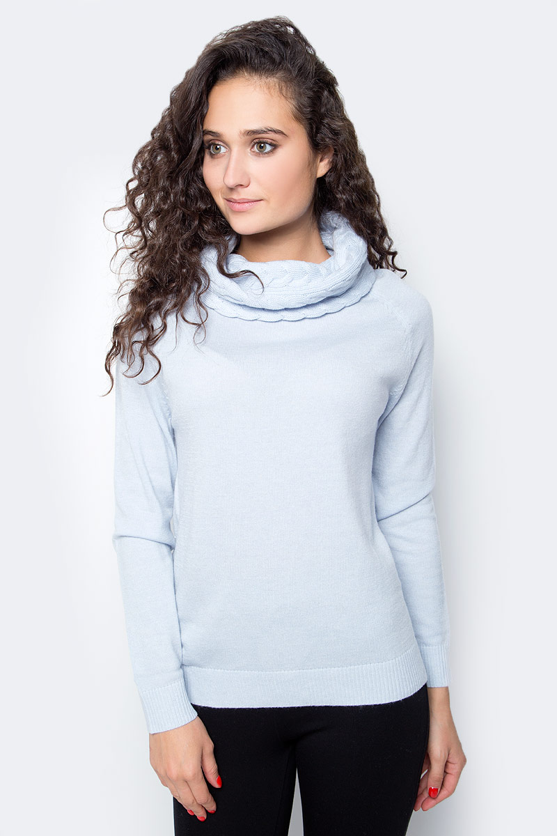 Свитер женский Baon, цвет: голубой. B137550_Cloudy Blue Melange. Размер XL (50)
