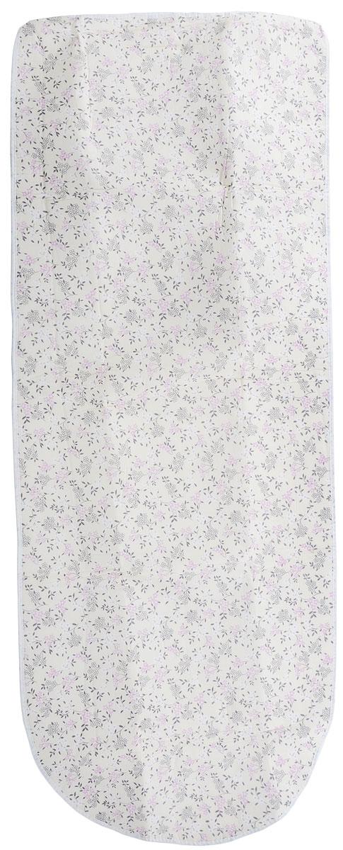 Чехол для гладильной доски Paterra, с поролоном, цвет: бежевый, розовый, белый, 126 х 46 см чехол для гладильной доски paterra цветы с поролоном цвет кремовый сиреневый 146 х 55 см