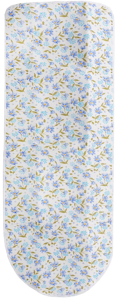 Чехол для гладильной доски Paterra, с поролоном, цвет: белый, голубой, серый, 126 х 46 см402-479_белый, голубой, серыйЧехол для гладильной доски Paterra необходим для обеспечения идеального результата в процессе глажения вещей. Покрытие из натурального хлопка обеспечивает максимальную скорость скольжения утюга и 100% паропроницаемость. Хлопковый чехол имеет подкладку из поролона (мягкого пенополиуретана) оптимальной толщины (4 мм), которая не истончается со временем. Затяжной шнур определяет удобную и надежную фиксацию чехла на доске. Кроме того, наличие шнура делает чехол пригодным для гладильной доски любой формы и меньшего размера. Край хлопкового чехла обработан особой лентой, предотвращающей распускание ткани. Устойчивый рисунок сохраняется длительное время, даже под воздействием высоких температур. Размер чехла: 126 х 46 см. Толщина подкладки: 4 мм.