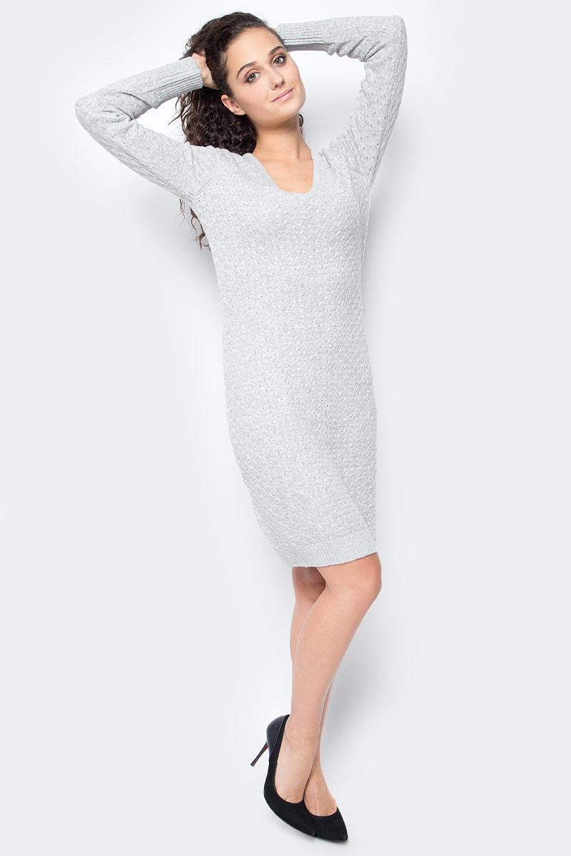 Платье Baon, цвет: серый. B457561_Zircon Melange. Размер XL (50) платье baon цвет серый b457530 silver melange размер l 48