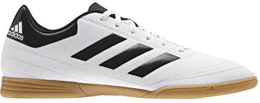 Кроссовки для футзала мужские Adidas Goletto VI IN, цвет: белый. AQ4292. Размер 8,5 (41)AQ4292Кроссовки Adidas Goletto VI IN предназначены для игры в футбол на твердых зальных покрытиях. Верх из искусственной кожи плотно облегает стопу и обеспечивает контроль мяча. Боковая панель украшена классическими тремя полосками. Мягкая внутренняя подкладка и текстильная стелька гарантируют комфортную посадку стопы. Немаркая резиновая подошва отлично сцепляет с поверхностью.