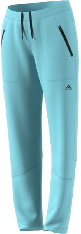 Брюки спортивные женские Adidas W Windfleece P, цвет: голубой. BR7832. Размер 36 (44)BR7832Женские брюки Adidas Windfleece созданы для активного отдыха. Модель с ветрозащитными вставками из тафты спереди и по бокам дополнена теплым внутренним слоем из поларфлиса. В карманах на молнии можно погреть руки, а эластичные манжеты препятствуют проникновению холодного воздуха внутрь. Эластичный пояс на регулируемых завязках-шнурках, позволяющих регулировать объем.