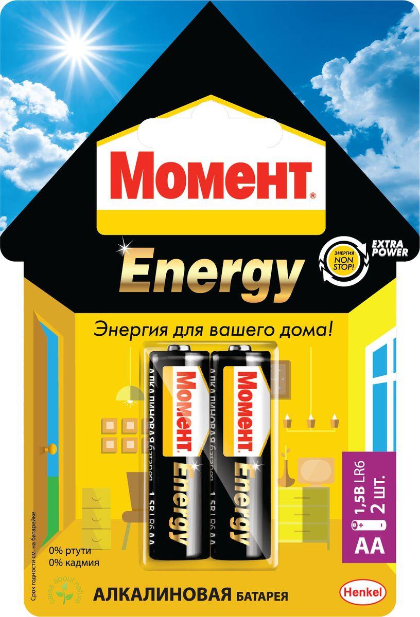Батарейка алкалиновая Момент Energy, тип AA, 2 шт energy