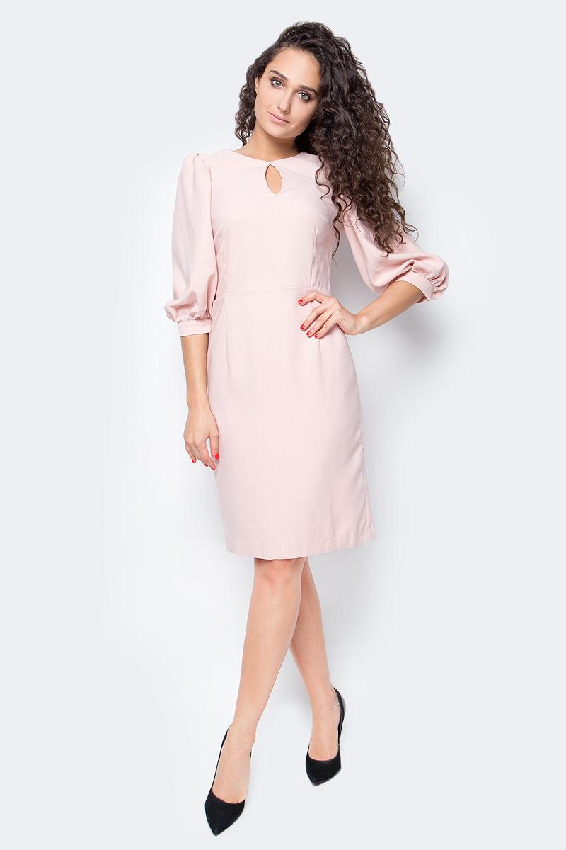 Платье Baon, цвет: розовый. B457505_Dusty Flamingo. Размер XS (42)B457505_Dusty FlamingoЭлегантное платье от Baon с модными деталями позволит вам подать себя в выгодном свете. Изделие имеет приталенный силуэт, эффектно подчеркивающий фигуру. Объемные рукава - актуальная деталь этого сезона. На груди расположен вырез-капля. Платье застегивается на молнию на спине.