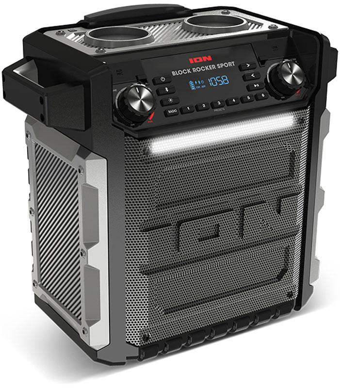 ION Audio Block Rocker Sport, Black портативная акустическая системаIONbrsION Audio Block Rocker Sport - последнее поколение самой популярной в России переносной звуковой системы - теперь с повышенным классом влагозащищенности и светящейся полоской.В любую погоду ION Audio Block Rocker Sport создаст вам прекрасное настроение … и не только. Система принимает Bluetooth-сигнал от любых смартфонов и планшетов (работающих на Android и iOS), обладает встроенным AM/FM радиоприемником, несет на борту серьезные многочасовые аккумуляторы и предназначена для использования на открытом воздухе.ION Audio Block Rocker Sport - мощнейшая звуковая система с великолепным звуком, пиковой мощностью в 100 Вт, низкочастотным динамиком диаметром 8 дюймов и твиттером диаметром 2 дюйма.Брутальный влагозащищенный корпус не боится дождя. Колесики и телескопическая ручка – для комфортного перемещения. 75 часов непрекращающегося фана. Караоке с входящим в комплект высококачественным микрофоном.Светящаяся RGB полоска – фестиваль нон-стоп, потрясающие световые эффекты теплым летним вечером или длинными зимними ночами.Диапазон радио: АМ 520 – 1710 кГц; FM 87,5-107,9 кГцПамять: по 6 FM и AM радиостанцийNFC-модульВремя автономной работы от аккумулятора: до 75 часов (зависит от громкости использования)Класс влагозащищенности: iPX4