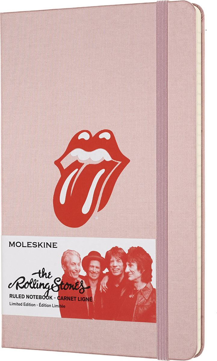 Moleskine Записная книжка Rolling Stones Large 120 листов в линейку цвет светло-розовый485669Культовая, мятежная группа, которая нашла в себе смелость задать скандально новый тон для целого поколения. Rolling Stones - это живая легенда, ставящая под сомнение любые категории и определения.Записная книжка Moleskine серии Rolling Stones Limited Edition посвящена знаменитой музыкальной группе, которая стала символом не только нового музыкального жанра, но и сформировала стиль жизни целого поколения.Обложка записной книжки содержит легендарную эмблему группы со знаменитым языком, а шелковая фактура вдохновлена экстравагантным гардеробом Мика Джаггера. Мгновенно узнаваемая, неподвластная времени, открытая для нестандартных мыслей и идей - ваша записная книжка Moleskine серии Rolling Stones.