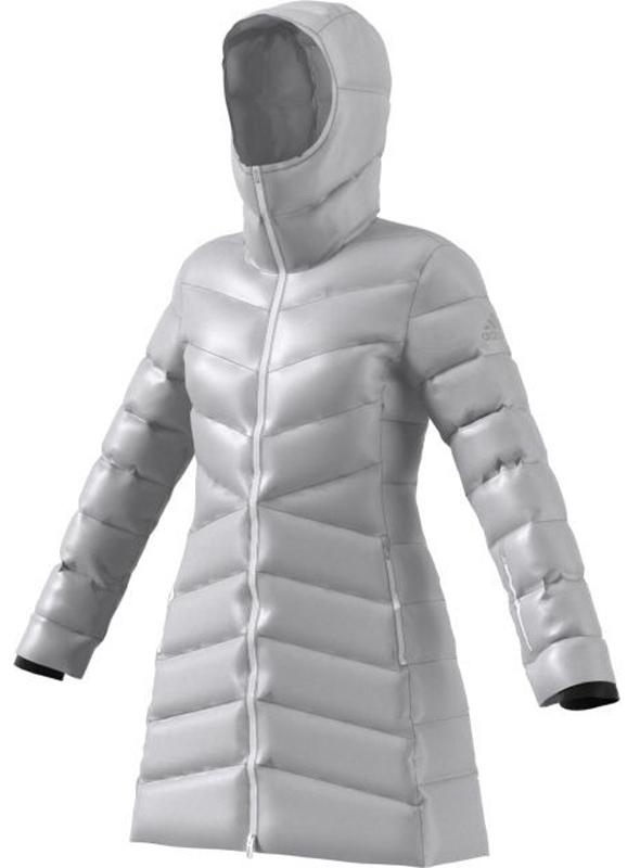 Пуховик женский Adidas W CW Nuvic JKT, цвет: серый. BS0982. Размер M (46/48)BS0982Пуховик от adidas подарит вам тепло и комфорт. Модель выполнена из материала с технологией CLIMAWARM, которая защищает от влаги и холода. Высококачественный пуховый наполнительдля максимально легкой теплоизоляции. Водоотталкивающий пух сохраняет тепло даже в мокром состоянии. На горле и манжетах предусмотрены специальные термовставки. Модель удлиненного фасона застенивается на застежку-молнию и имеет несъемный капюшон. По бокам изделие дополнено карманами с медиа каналом.