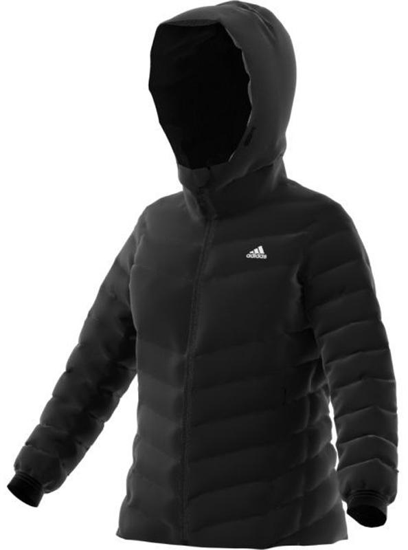Пуховик женский Adidas W CW Nuvic JKT, цвет: черный. BQ8778. Размер 32 (40/42)BQ8778Женский пуховик Adidas Climawarm Nuvic защищает твое тело от влажности и холода, позволяет оставаться в тепле. Модель выполнена из полиэстера с утеплителем из утиного пуха и пера.Высококачественный пуховый наполнитель для максимально легкой теплоизоляции. Водоотталкивающий пух сохраняет тепло даже в мокром состоянии. Пуховик застегивается на застежку-молнию. Рукава дополнены манжетами. Предусмотрен съемный капюшон для лучшей защиты икомфорта. Модель дополнена боковыми карманами на молниях.