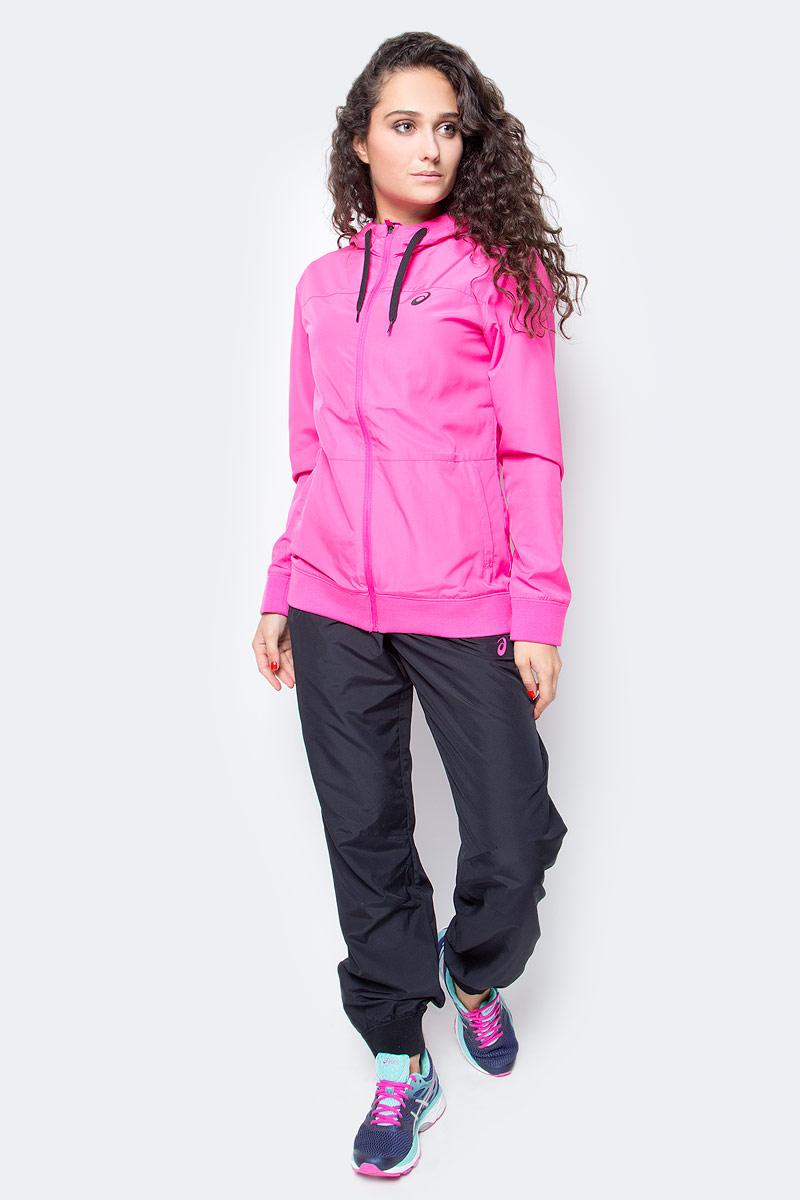 Костюм спортивный женский Asics Suit, цвет: розовый, черный. 142916-0692. Размер L (48/50)142916-0692В костюме Asics Suit вы будете выглядеть стильно, а чувствовать себя невероятно комфортно. Материал гарантирует легкость движений, как при занятиях спортом, так и в повседневной носке. Ветровка с длинными рукавами застегивается спереди на молнию. Модель с капюшоном дополнена двумя прорезными карманами спереди. Манжеты дополнены широкой эластичной резинкой. Спортивные брюки имеют широкую эластичную резинку на поясе.