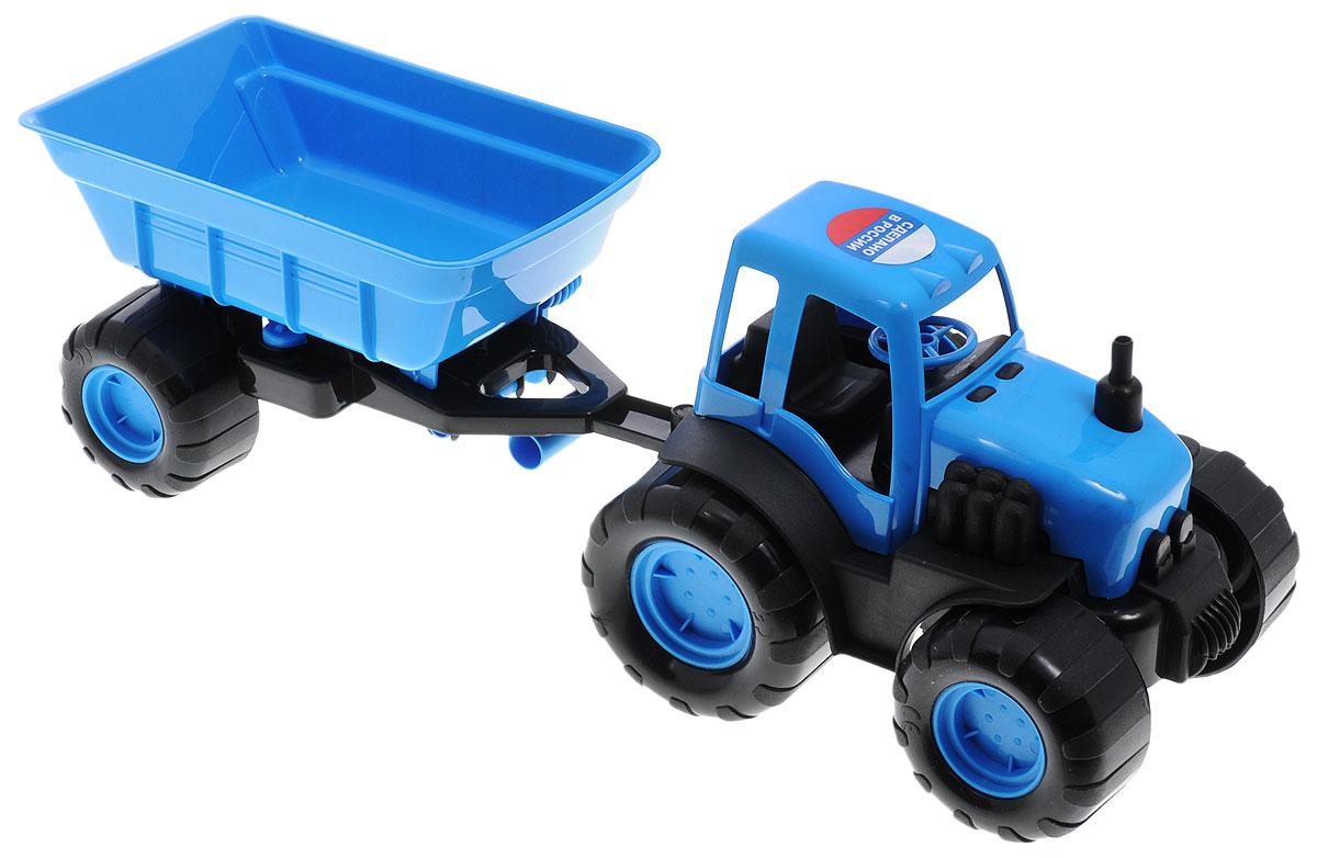 Zebratoys Трактор с прицепом цвет голубой черный лопата с каской zebratoys