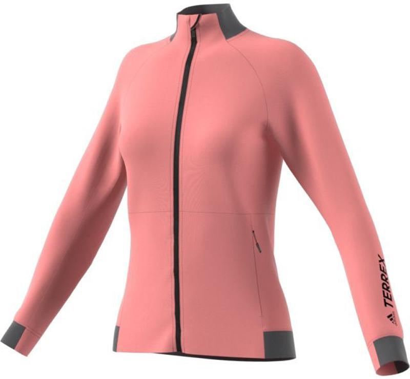 Толстовка женская Adidas W Mntglo Fleece, цвет: розовый, серый. BP9452. Размер 40 (46/48)BP9452Женская флисовая толстовка adidas TERREX Mountainglow, созданная для комфорта движений, ее можно носить отдельно или под другой одеждой. Эластичный материал и облегающий крой обеспечивают свободу движений на пеших маршрутах любой сложности. Мягкая подкладка приятноощущается на теле и отлично согревает. Модель облегающего кроя с воротником-стойкой и длинными рукавами-реглан застегивается на застежку-молнию с защитой подбородка. Предусмотрены боковые карманы на молниях. Внутренний шов ворота обработан тесьмой. Петля-вешалка для удобства хранения.