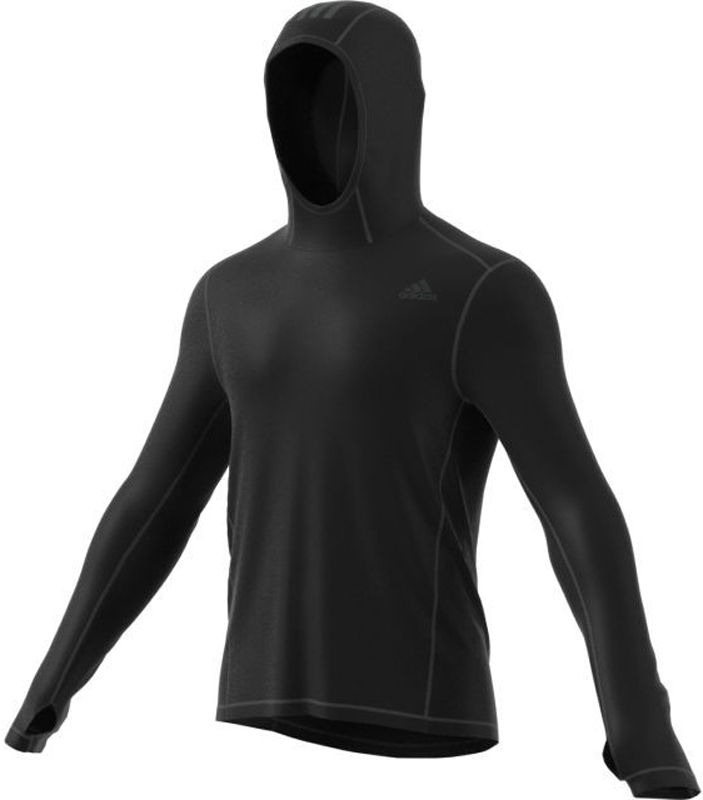 Толстовка для бега мужская Adidas RS Clima Hdie M, цвет: черный. BP8033. Размер S (44/46)BP8033Мужская толстовка для бега Adidas RS Clima Hdie выполнена из материала Climawarm (100% полиэстер), который защищает тело от влажности и холода, позволяет оставаться в тепле. Модель облегающего кроя с длинными рукавами и капюшоном. Светоотражающие полоски обеспечат видимость в условиях плохого освещения. На рукавах предусотрены отверстия для больших пальцев для комфорта и свободы движений.