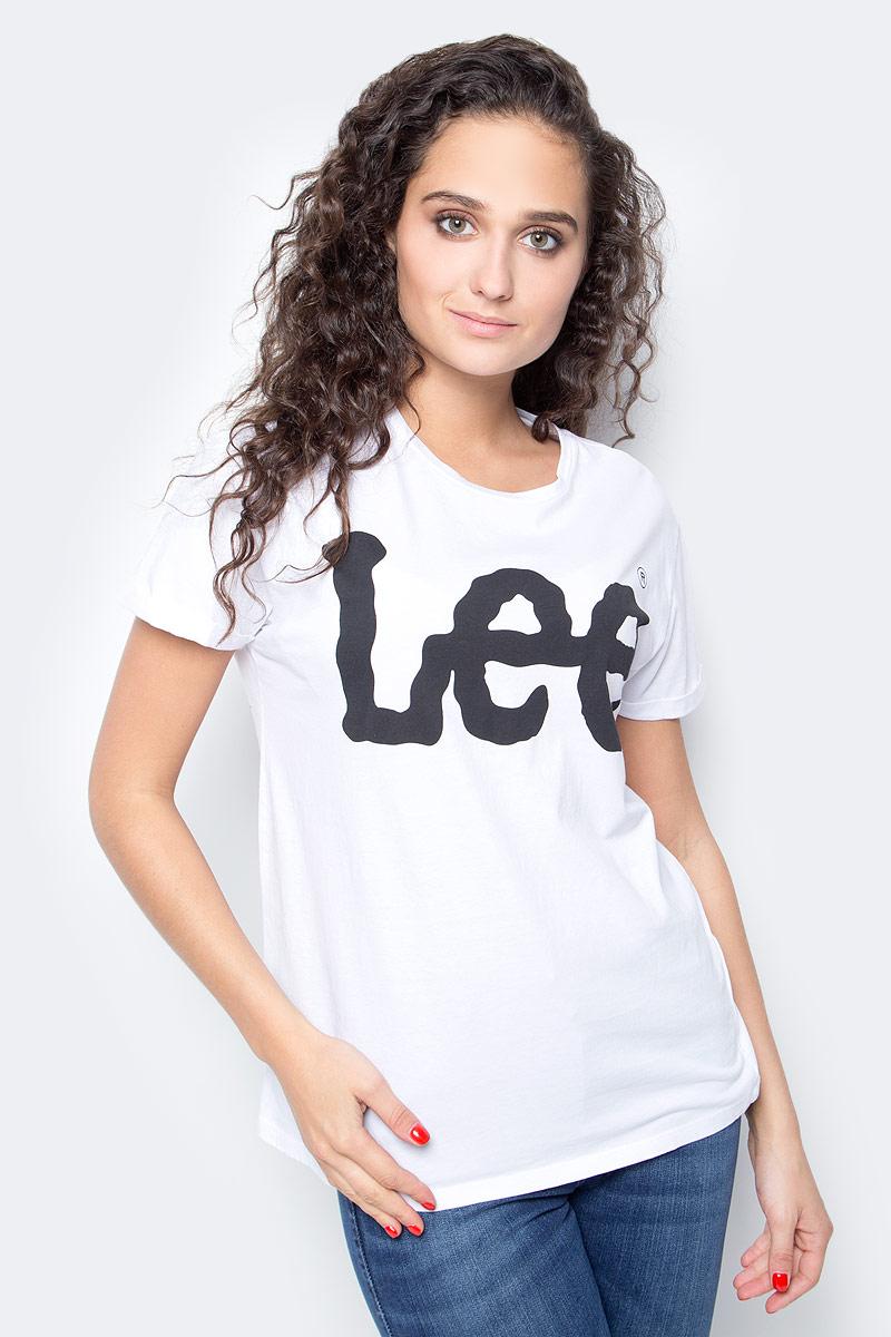 Футболка женская Lee, цвет: белый. L40LEP12. Размер XL (48) футболка женская lee цвет белый черный l41erweh размер xs 40