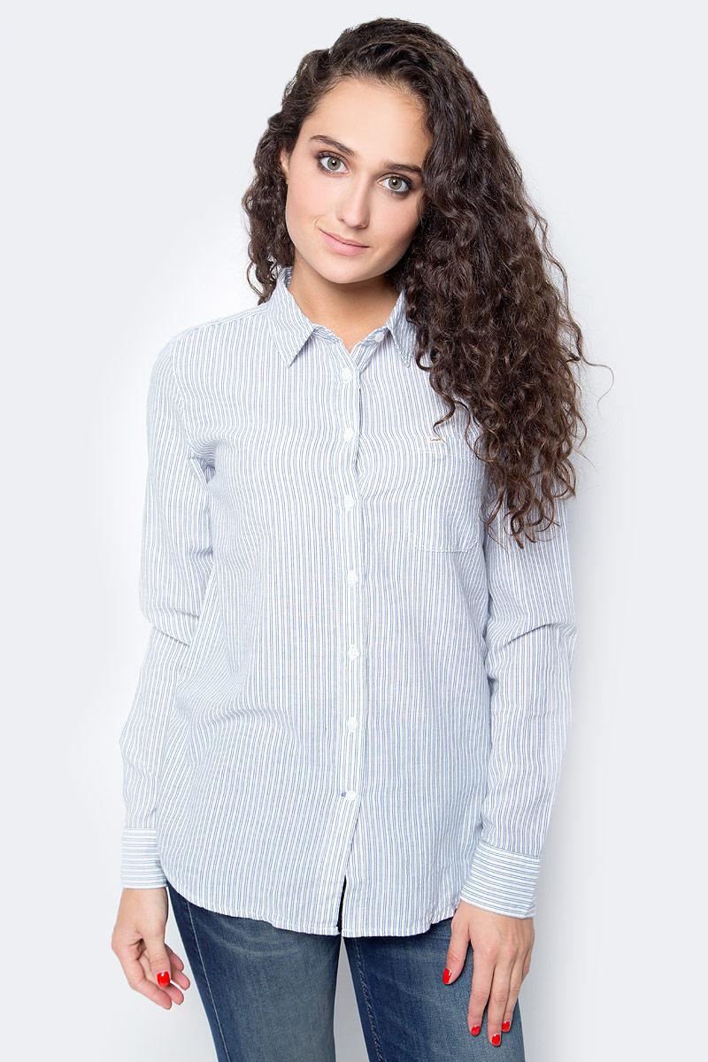 Блузка женская Lee, цвет: белый, голубой. L45QBH12. Размер S (42) lee блузка
