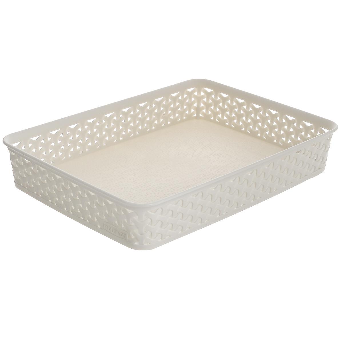 """Универсальная корзина Curver """"My Style"""" изготовлена из высококачественного пластика с перфорированными стенками и сплошным дном. Такая корзина непременно пригодится в быту, в ней можно хранить кухонные принадлежности, специи, аксессуары для ванной и другие бытовые предметы, диски и канцелярию. Размеры корзины: 35 х 26 х 6 см."""