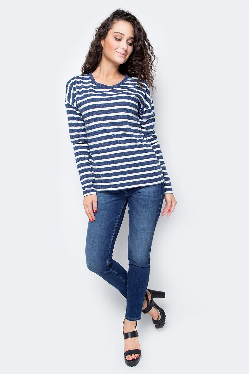 Лонгслив женский Lee, цвет: синий, белый. L43MDN13. Размер M (44) джинсы lee l301kims