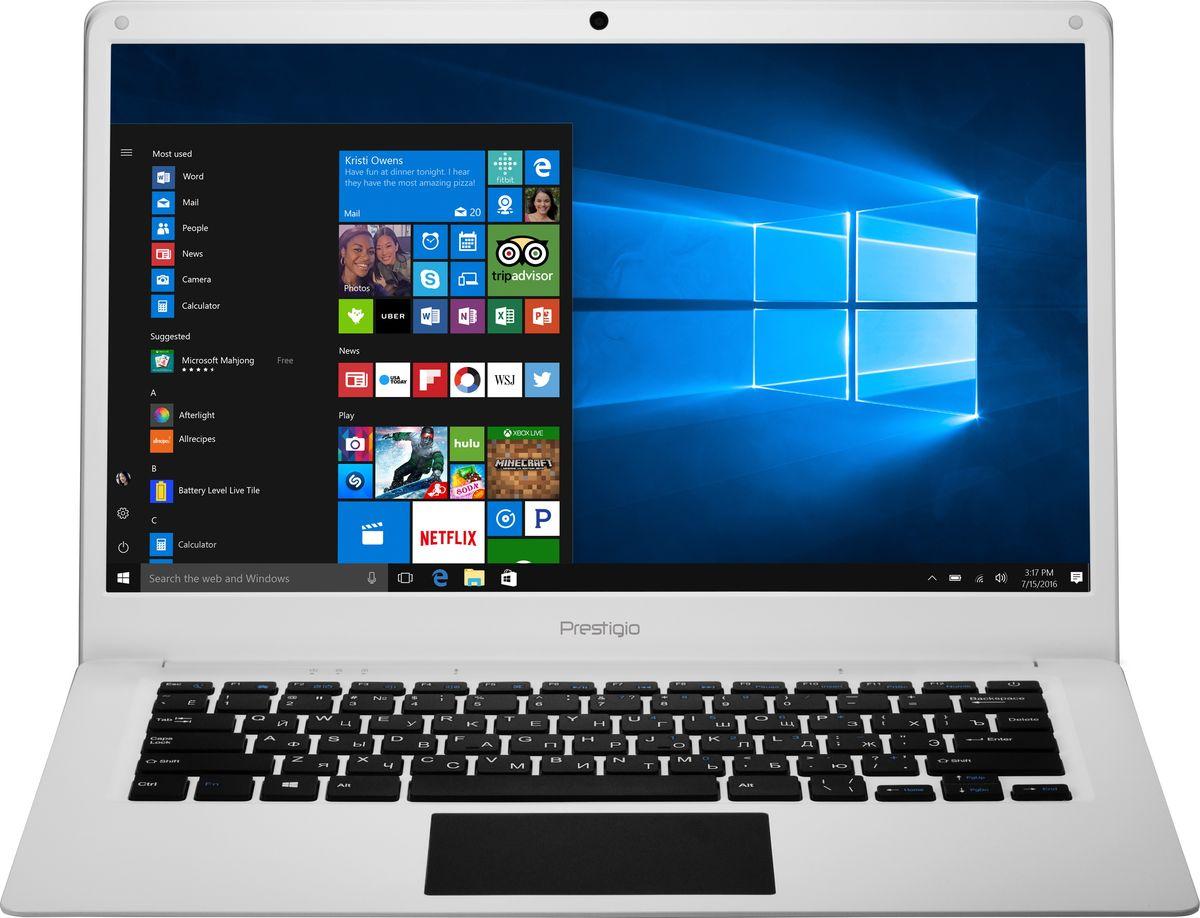 Prestigio SmartBook 141C, WhitePSB141C01BFH_WH_CISPrestigio Smartbook 141С - современный и удобный ноутбук с экраном 14.1, полной версией ОС Windows и универсальным набором портов, который с успехом может заменить ваш стационарный компьютер. Для этого у модели есть все преимущества - полноразмерная клавиатура, производительный процессор с эффективной поддержкой многозадачности и улучшенным режимом энергосбережения.4-ядерный процессор Intel Atom Z8350 (частота до 1,92 ГГц) позволяет ноутбуку выполнять разнообразные задачи без особых усилий. 2 ГБ оперативной памяти и 32 ГБ внутренней памяти помогают ноутбуку работать в режиме многозадачности. При необходимости объем внутреннего хранилища можно увеличить с помощью карты microSD до 128 ГБ. Эффективное управление потреблением энергии и ёмкость батареи 9000 мАч позволяют устройству проработать до 8 часов без подзарядки, чего вполне достаточно для целого рабочего дня.Яркий и контрастный 14.1-дюймовый экран с Full HD разрешением и IPS матрицей обеспечивают чёткое изображение и насыщенные цвета.Небольшая толщина Smartbook 141С (всего 2.3 см) и вес 1,45 кг позволяют его брать с собой и находиться на связи в любой точке мира - вы по достоинству оцените свободу перемещений.С Windows 10 Home, установленной на Smartbook 141C, вы сможете наслаждаться всеми преимуществами современной операционной системы. Интуитивно понятный интерфейс поможет быстрее и эффективнее справляться с задачами, улучшенная производительность позволит вам почувствовать новый уровень мощности, а благодаря дополнительным сервисам и приложениям каждая секунда с новым устройством будет полна комфорта и восхищения.Smartbook 141С не нуждается в переходниках: универсальный набор портов позволяет организовать мобильный офис в считанные минуты. С помощью порта mini HDMI, полноразмерного USB 3.0 и USB 2.0 вы без проблем подключите большой экран, мышь, принтер или сканер.Точные характеристики зависят от модификации.Ноутбук сертифицирован EAC и имеет русифицированную к