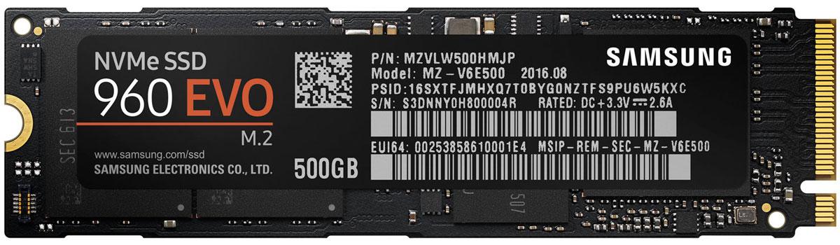Samsung 960 EVO NVMe M.2 500Gb SSD-накопитель (MZ-V6E500BW)459328Если вы хотите увеличить производительность вашего ПК, то твердотельные SSD накопители Samsung 960 EVO - лучший выбор! NVMe интерфейс обеспечивает увеличенную полосу пропускания, а новый масштабируемый контроллер NVM Express (Non - Volatile Memory Express) и интеллектуальная технология записи Samsung intelligent TurboWrite еще больше повысит производительность любого ПК.Более широкая полоса пропускания обеспечиваемая интерфейсом NVMe в сочетании с новым контроллером Polaris, увеличит скорость последовательного чтения/записи до 3200/1900 млн байт / сек , а скорости случайного R/W считывания/записи - до 380/360K IOPS, соответственно. Кроме того, новая интеллектуальная технология записи (Intelligent TurboWrite) позволит еще больше увеличить эти скорости.Высокая производительность измеряется не только скоростью считывания/записи. Важным фактором также является время сохранения этих характеристик. Система динамической защиты от перегрева (Dynamic Thermal Guard) предотвращает перегрев накопителя, защищая, тем самым, данные и оптимизируя его работу.Программа Magician производит проверку прошивки и контроль дополнительных функций, выбранных пользователем для отдельных накопителей. Кроме того, эта программа автоматически обновляет прошивку, чтобы поддерживать производительность на самом высоком уровне.Наработки на отказ: 1,5 млн. часов (MTBF)Устойчивость к ударам: 1500 G/0,5 мс по 3 осямДиапазон рабочих температур: 0 °C - 70 °C