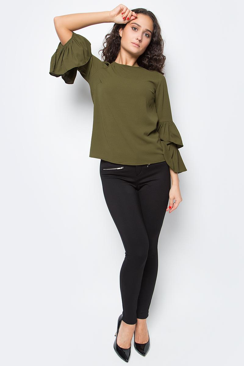Блузка женская Vero Moda, цвет: оливковый. 10186367_Dark Olive. Размер M (46)10186367_Dark OliveЖенская блузка с круглым вырезом горловины сзади застегивается на пуговицу.