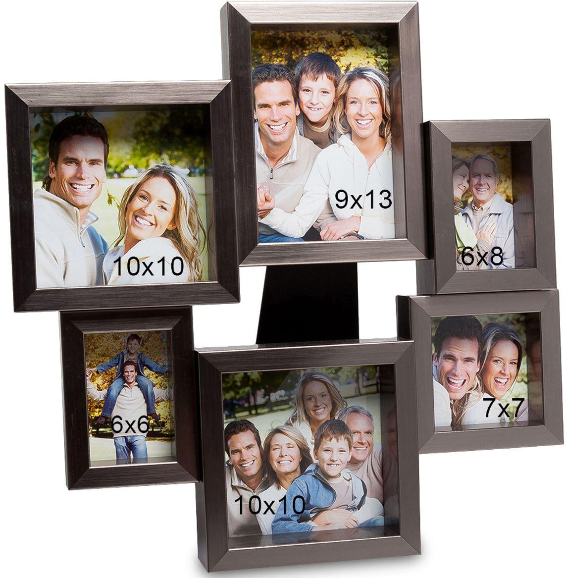 Панно из фоторамок Bellezza Casa Семейная история, на 6 фото: 9х13, 6х8, 7х7, 10х10. CHK-135CHK-135Панно из фоторамок на 6 фото для фотографий 5х8, 9х13, 10х10 и 9х9 см.Фоторамка настенная украсит ваши комнаты красивыми фотографиями. Она необычная, неординарная, рамочки расположены, как бы по кругу и отличаются своим размером. То есть вы сможете вложить в них не только фото одного размера, но и разные. Это могут быть как фото любимого мужа и жены, драгоценных детишек и других членов семьи. На настенной фторамке Семейная история места хватит всем. Она не просто оригинальна, но и красива. И, что в ней привлекает, кроме всего прочего, так это ее цвет. Изысканный, дорогой цвет металла делает и саму рамку дорогой и роскошной.