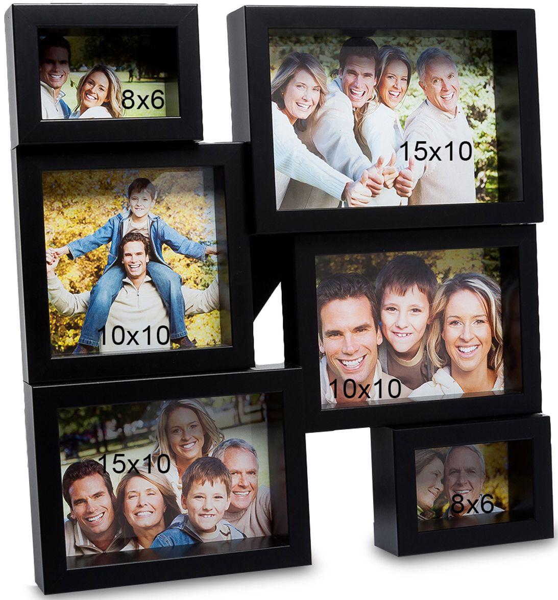 Панно из фоторамок Bellezza Casa Семейная история, на 6 фото: 8х6, 10х10, 15х10. CHK-138CHK-138Панно из фоторамок на 6 фото для фотографий 8х6, 10х10 и 15х10 см.Раньше считалось, что фоторамка в подарок – это что-то глупое и, что у человека ее подарившего нет фантазии. Но времена меняются и фоторамку Семейная история несомненно, захотели бы получить все, кто ее видели. Фоторамка выполнена из пластика, черная отделка смотрится современно, модно. А еще, сама рамка, рассчитанная на 6 фотографий, станет модной изюминкой любой комнаты, будь-то гостиная или спальня.