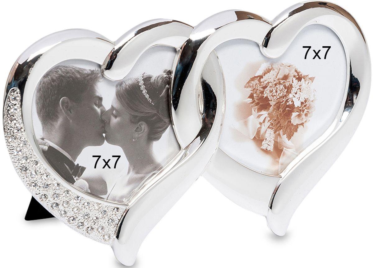 Фоторамка Bellezza Casa Влюбленные сердца, на 2 фото: 7х7. CHK-010CHK-010Фоторамка Сердечко на 2 фото для фотографий 7х7 см.Два прекрасных сердечка соединены вместе, подобно обручальным кольцам. Серебристый прохладный материал приятно взять в руки. Фоторамка, которая может превратиться в прекрасный подарок на юбилей свадьбы, годовщину знакомства, любую другую дату — тем, кто влюблен, не требуется долго искать повод для приятного сюрприза.