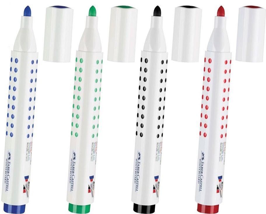 Faber-Castell Набор маркеров для доски Grip 4 цвета150381Набор высококачественных маркеров для белой маркерной доски. Не высыхают с открытым колпачком в течение нескольких дней. Легко стираются сухой губкой. Специальная форма колпачка обеспечивает организованное хранение набора маркеров.
