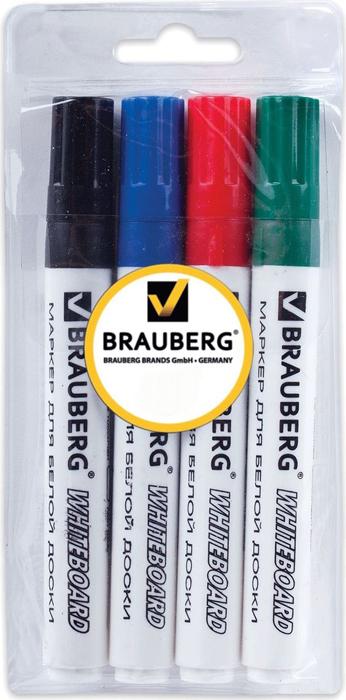 Brauberg Набор маркеров для доски 4 цвета 150417150417Набор высококачественных маркеров для белой маркерной доски. Не высыхают с открытым колпачком в течение нескольких дней.