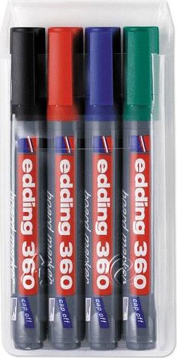 Edding Набор маркеров для доски 4 цветаHL_9508Маркеры для белых маркерных досок EDDING прекрасно подходят для проведения презентаций, уроков и разнообразных мероприятий. Стираются сухой губкой.